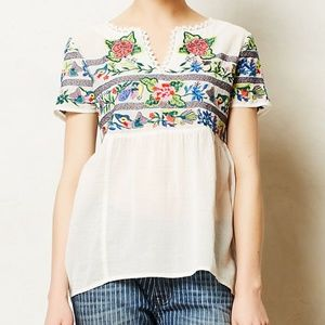 Anthropologie Tropical Embroidered Blouse